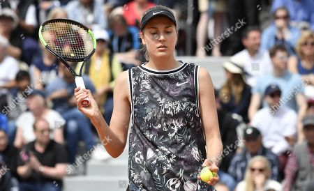 Antonia Lottner of Germany plays Johanna Konta of Britain during their women?s first round match during the French Open tennis tournament at Roland Garros in Paris, France, 27 May 2019.