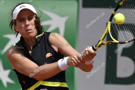 Johanna Konta of Britain plays Antonia Lottner of Germany during their women?s first round match during the French Open tennis tournament at Roland Garros in Paris, France, 27 May 2019.