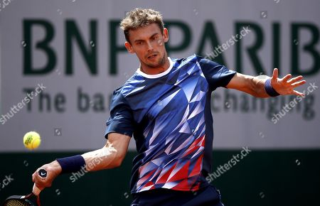 Henri Laaksonen of Switzerland plays Pedro Martinez Portero of Spain during their men?s first round match during the French Open tennis tournament at Roland Garros in Paris, France, 27 May 2019.