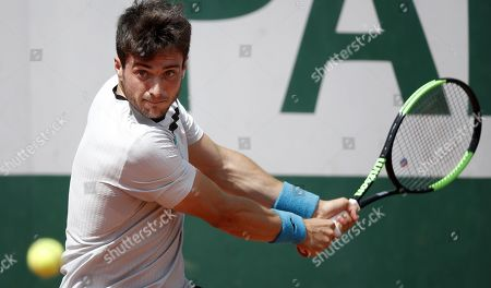 Pedro Martinez Portero of Spain plays Henri Laaksonen of Switzerland during their men?s first round match during the French Open tennis tournament at Roland Garros in Paris, France, 27 May 2019.