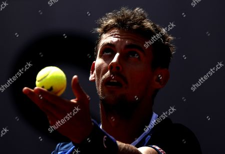 Stock Photo of Henri Laaksonen of Switzerland plays Pedro Martinez Portero of Spain during their men?s first round match during the French Open tennis tournament at Roland Garros in Paris, France, 27 May 2019.