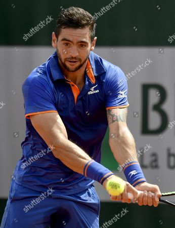 Guido Andreozzi of Argentina plays Guido Pella of Argentina during their men?s first round match during the French Open tennis tournament at Roland Garros in Paris, France, 27 May 2019.