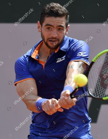 Stock Picture of Guido Andreozzi of Argentina plays Guido Pella of Argentina during their men?s first round match during the French Open tennis tournament at Roland Garros in Paris, France, 27 May 2019.