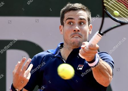 Guido Pella of Argentina plays Guido Andreozzi of Argentina during their men?s first round match during the French Open tennis tournament at Roland Garros in Paris, France, 27 May 2019.