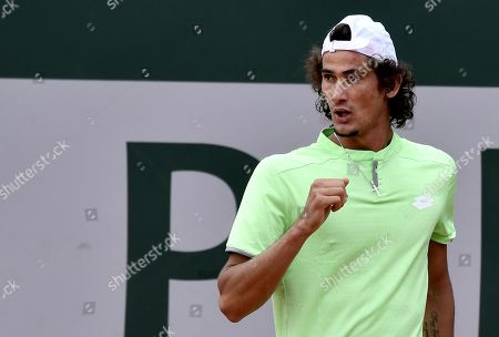 Lloyd Harris of South Africa plays Lukas Rosol of the Czech Republic during their men?s first round match during the French Open tennis tournament at Roland Garros in Paris, France, 27 May 2019.