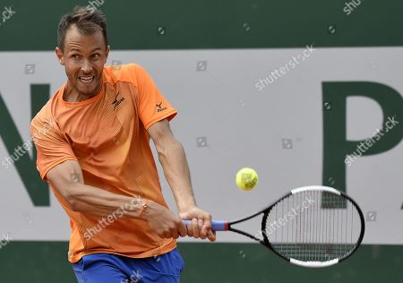 Stock Picture of Lukas Rosol of the Czech Republic plays Lloyd Harris of South Africa during their men?s first round match during the French Open tennis tournament at Roland Garros in Paris, France, 27 May 2019.