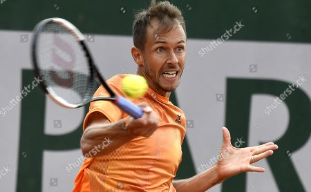 Lukas Rosol of the Czech Republic plays Lloyd Harris of South Africa during their men?s first round match during the French Open tennis tournament at Roland Garros in Paris, France, 27 May 2019.