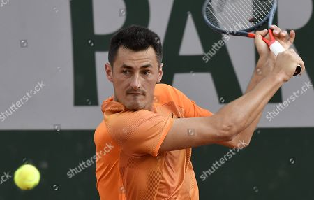 Bernard Tomic of Australia plays Taylor Fritz of the USA during their men?s first round match during the French Open tennis tournament at Roland Garros in Paris, France, 28 May 2019.