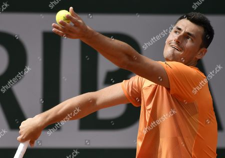 Stock Picture of Bernard Tomic of Australia plays Taylor Fritz of the USA during their men?s first round match during the French Open tennis tournament at Roland Garros in Paris, France, 28 May 2019.