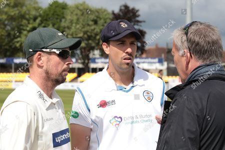 Paul Horton & Billy Godleman with match referee James Whittaker before the Specsavers County Champ Div 2 match between Leicestershire County Cricket Club and Derbyshire County Cricket Club at the Fischer County Ground, Grace Road, Leicester
