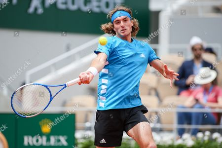 Stock Image of Stefanos Tsitsipas of Greece during the men's singles first round match of the French Open tennis tournament against Maximilian Marterer of Germany at the Roland Garros in Paris, France.