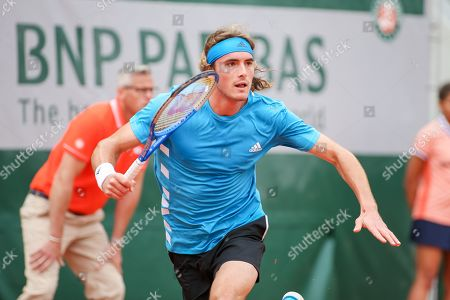 Stefanos Tsitsipas of Greece during the men's singles first round match of the French Open tennis tournament against Maximilian Marterer of Germany at the Roland Garros in Paris, France.