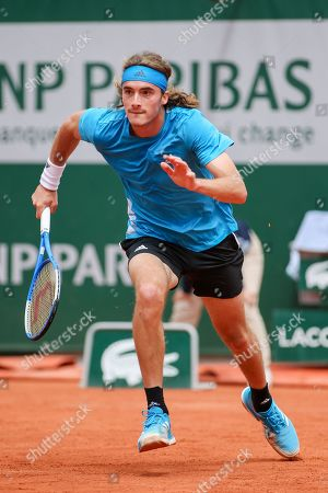 Stock Picture of Stefanos Tsitsipas of Greece during the men's singles first round match of the French Open tennis tournament against Maximilian Marterer of Germany at the Roland Garros in Paris, France.