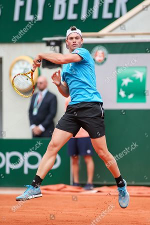 Maximilian Marterer of Germany during the men's singles first round match of the French Open tennis tournament against Stefanos Tsitsipas of Greece at the Roland Garros in Paris, France.