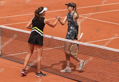 Great Britain's Johanna Konta shakes hands with Antonia Lottner from Germany after 1st Round win