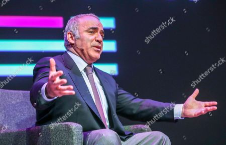 Garry Kasparov speaks on stage during the Oslo Freedom Forum in Oslo, Norway, 27 May 2019.
