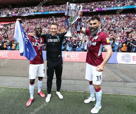 Stock Picture of John Terry, Neil Taylor of Aston Villa and Mile Jedinak celebrate at full time