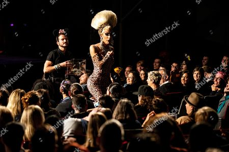 Pageant Founder Alaska Thunderfuck walks amid the crowd during the Drag Queen Of The Year Competition at the Montalban Theater in Hollywood, California, USA, 26 May 2019. Drag Queen contestants took part in first ever Drag Queen of the Year Pageant and were judged on criteria such as presence, energy, integrity, and stunningness.