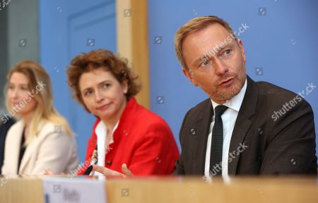 Stock Picture of (L-R) Lencke Steiner, lead candidate for the German Free Democrats (FDP) party in Bremen, Nicola Beer, lead candidate for the FDP in the European parliamentary elections, and Christian Lindner, head of the FDP, attend a news conference at the Bundespressekonferenz in Berlin, Germany, 27 May 2019. European parliamentary election results, with the highest voter turnout in at least 20 years, were announced the previous evening.