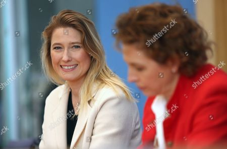 Stock Image of Lencke Steiner, lead candidate for the German Free Democrats (FDP) party in Bremen (L), and Nicola Beer, lead candidate for the FDP in the European parliamentary elections, attend a news conference at the Bundespressekonferenz in Berlin, Germany, 27 May 2019. European parliamentary election results, with the highest voter turnout in at least 20 years, were announced the previous evening.