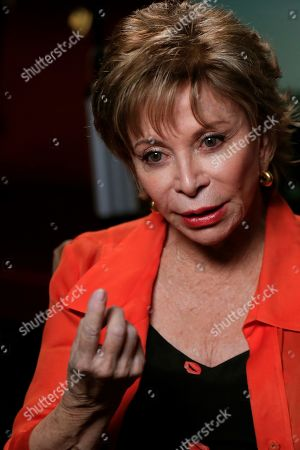 Stock Photo of Chilean writer Isabel Allende speaks during an interview in Madrid, Spain, 27 May 2019. 'A Long Petal of the Sea', Allende's new novel, will be published on 21 May and is based on Spanish Civil War.