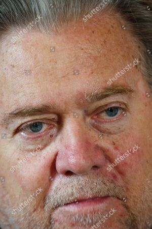 "Former White House strategist Steve Bannon poses prior to an interview with The Associated Press, in Paris,. Steve Bannon says European integration is ""dead in its tracks"" after European election wins by nationalist and populist parties in Italy, France and Britain"