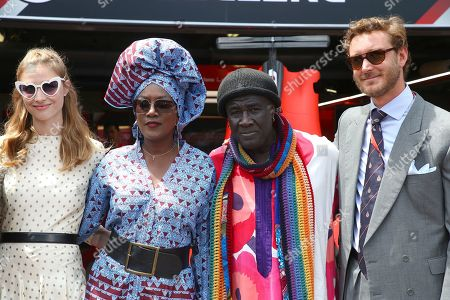 Beatrice Borromeo, Khadja Nin, Moko, Pierre Casiraghi poses during the Grand Prix