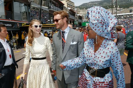 Pierre Casiraghi with his wife Beatrice Borromeo and Khadja Nin attending the Monaco F1 Grand Prix
