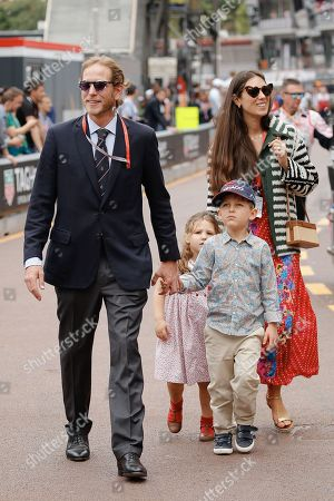 Andrea Casiraghi, his wife Tatiana Santo Domingo Casiraghi and their children Alexandre Stefano and India attending the Monaco F1 Grand Prix