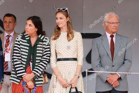 Tatiana Santo Domingo Casiraghi, Beatrice Borromeo and King Carl Gustaf attending the Monaco F1 Grand Prix