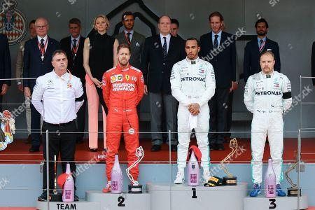 Princess Charlene of Monaco, Pierre Casiraghi, Prince Albert II of Monaco, Andrea Casiraghi, Sebastian Vettel, Lewis Hamilton, Valtteri Bottas attending the Monaco F1 Grand Prix