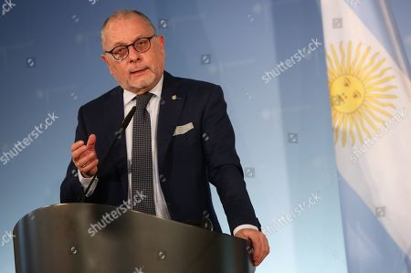 Argentine Foreign Minister Jorge Marcelo Faurie gives a joint press conference with the German Foreign Minister on their meeting in Berlin, Germany, 27 May 2019. The German and Argentine foreign ministers met to discuss topics including the upcoming German-Latin American/Carribean conference.