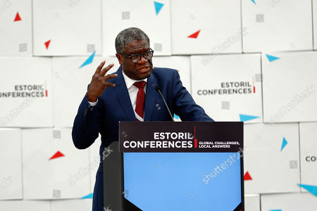 Congolese gynecologist, 2018 Nobel Peace Prize for his efforts to end sexual violence as a weapon, Denis Mukwege, speaks during Estoril Conferences panel 'Global Challenges, Local Answers', in Cascais, Portugal, 27 May 2019.
