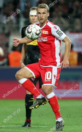 Union's Sebastian Andersson (R) in action against Stuttgart's Holger Badstuber (L) during the German Bundesliga relegation playoff second leg soccer match between FC Union Berlin and VfB Stuttgart in Berlin, Germany, 27 May 2019. The match ended 0-0 and Union beat Stuttgart on away goals following a 2-2 draw in the first leg to promote to the German Bundesliga.