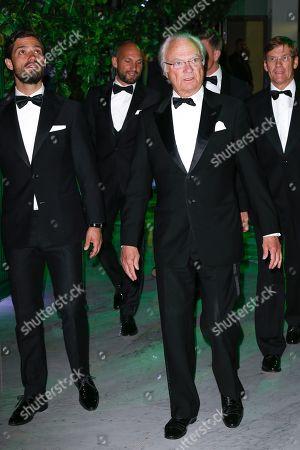 Prince Carl Philip of Sweden and King Charles XVI Gustav of Sweden attending the Monaco Sporting Gala dinner