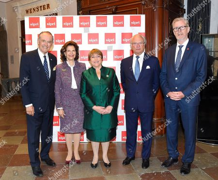 Stock Photo of Jan Eliasson, Queen Silvia, Michelle Bachelet, King Carl Gustaf and Dan Smith