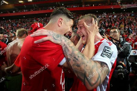 27.05.2019, Football Relegation 2018/2019, 2nd leg, 1. FC Union Berlin - VfB Stuttgart, stadium An Alten Foersterei Berlin. 1. FC Union Berlin celebrates den Aufstieg, Sebastian Polter (, Union Berlin)