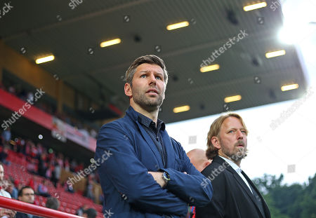 27.05.2019, Football Relegation 2018/2019, 2nd leg, 1. FC Union Berlin - VfB Stuttgart, stadium An Alten Foersterei Berlin. (L-R) Sport-Vorstand Thomas Hitzlsperger (Stuttgart) and sportdirector  Sven Mislintat (Stuttgart)