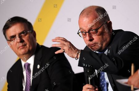 Argentinian Foreign Minister, Jorge Faurie (R) speaks next to Mexican Foreign Minister, Marcelo Luis Ebrard Casaubon (L) at the Latin America-Caribbean Conference in Berlin, Germany, 28 May 2019. A group of Foreign Ministers from Latin America and the Caribbean taking part in the conference focus on a stronger international cooperation based on the rule of law in areas like climate change, scientific cooperation, economic relations and women's rights.