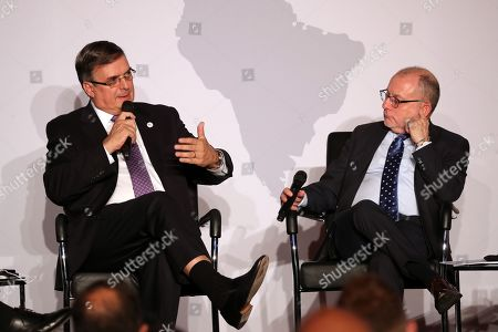 Stock Image of Mexican Foreign Minister, Marcelo Luis Ebrard Casaubon (L) speaks next to his Argentinian counterpart, Jorge Faurie (R) at the Latin America-Caribbean Conference in Berlin, Germany, 28 May 2019. A group of Foreign Ministers from Latin America and the Caribbean taking part in the conference focus on a stronger international cooperation based on the rule of law in areas like climate change, scientific cooperation, economic relations and women's rights.
