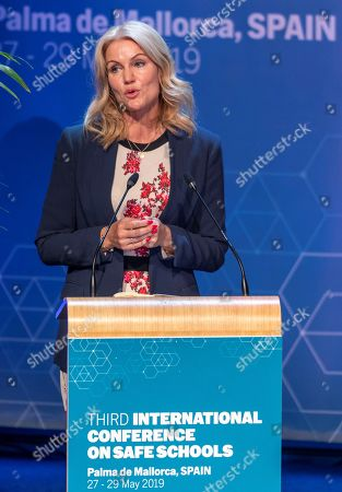Director of Save the Children Helle Thorning-Schmidt delivers a speech during the opening of the third International Conference on Safe Schools in Palma de Majorca, Spain, 28 May 2019.