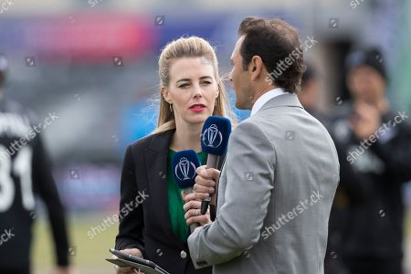 Alma Smit with Mark Ramprakash during West Indies vs New Zealand, ICC World Cup Warm-Up Match Cricket at the Bristol County Ground on 28th May 2019