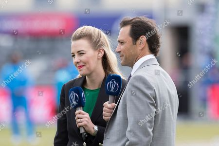 Stock Picture of Mark Ramprakash and Alma Smit face the cameras during West Indies vs New Zealand, ICC World Cup Warm-Up Match Cricket at the Bristol County Ground on 28th May 2019