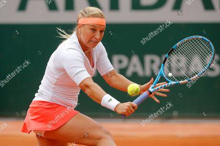 Slovakia's Dominika Cibulkova plays a shot against Aryna Sabalenka of Belarus during their first round match of the French Open tennis tournament at the Roland Garros stadium in Paris