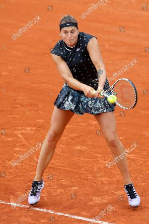 Aryna Sabalenka of Belarus plays a shot against Slovakia's Dominika Cibulkova during their first round match of the French Open tennis tournament at the Roland Garros stadium in Paris