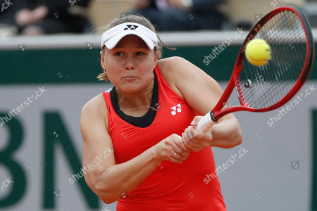 Russia's Evgeniya Rodina plays a shot against Madison Keys of the U.S. during their first round match of the French Open tennis tournament at the Roland Garros stadium in Paris