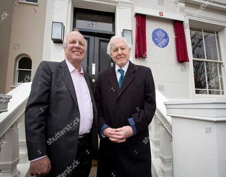 Stock Photo of David Attenborough (right) Unveils An English Heritage Blue Plaque At 25 Addison Avenue W11 Commorating Hugh Carleton Greene Former Director- General Of The Bbc With Greg Dyke (left) Also A Former Director-general Of The Bbc.