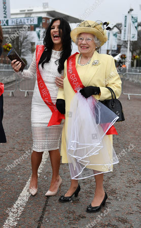 Royal Lookalikes Queen - Patricia Ford And Megan Markle - Stephanie Bishop. - Opening Day Of The Random Health Grand National Meeting At Aintree Racecourse Aintree Merseyside.- 12/4/18.