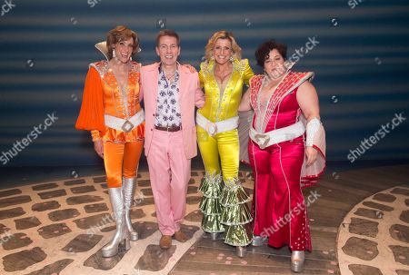 12.04.18 Andrew Pierce With The 'dynamo's' From Left; Kate Graham (tanya) Sara Poyzer (donna Sheridan) And Jacqueline Braun (rosie) On Stage After The Finale Of The Hit West End Show Mama Mia At The Novello Theatre Covent Garden London.