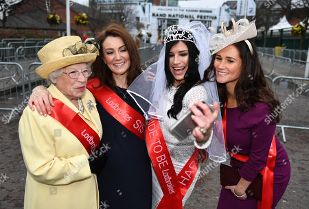 Royal Lookalikes Queen - Patricia Ford Megan Markle - Stephanie Bishop Kate Duchess Of Cambridge - Heidi Agan And Pippa Middleton - Sarah Carrington. - Opening Day Of The Random Health Grand National Meeting At Aintree Racecourse Aintree Merseyside.- 12/4/18.